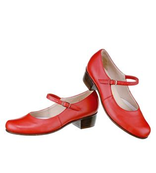 This model has a strap, a stitched leather sole and a 3,5 cm solid heel.