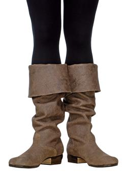 Stylish pair of leather boots will be a perfect choice to match any costume.