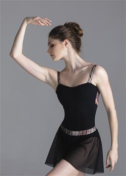 Leotard with straps and low back. Straps and the upper part of back is made of sheen stripped polyamide.